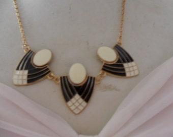 Authentic Vintage Black And Cream, White Enamel ART DECO Gold Necklace, Wedding, PROM, Bride, Bridesmaid, Birthday