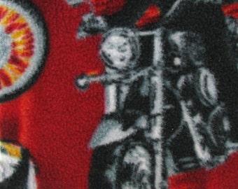 Biker on Fire Fleece Fabric by the yard