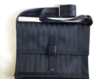 Black Crossbody Bag - Laptop Case - Seat Belt Messenger Bag (M-7)