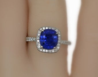 A real Royal Blue Sapphire engagement ring,JOAN-934