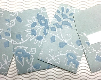 4 teeny tiny envelopes blue handmade papers miniature mini note sets square stationery party favors weddings guest book table numbers