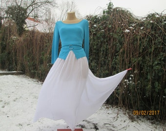 Big Size Skirt / Long Full Skirt / Skirt Vintage / Long White Skirt / Skirt Size EUR50 / UK20 / For Tall / Side Pockets