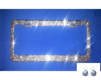 BEST SELLER SILVER diamond Glitter Bling Sparkly License Plate Frame and Rhinestone Screw Cap Covers