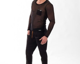 Black long sleeve tshirt- Black transparent top -  Sheer Tulle - Black Mesh long sleeves- Mixedesigns lab Mens Fashion