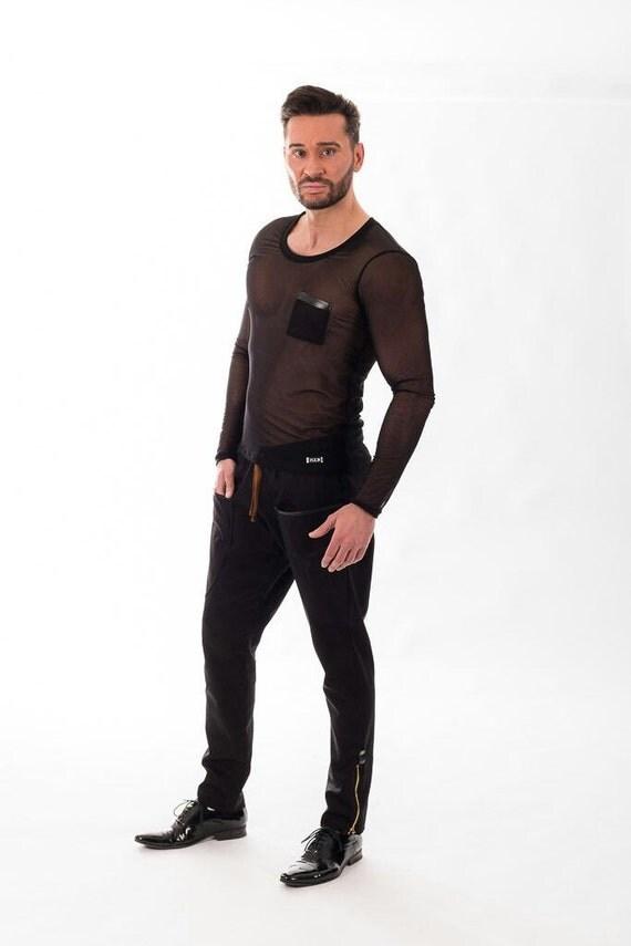 Black long sleeve tshirt- Black transparent top - Sheer Tulle - Black Mesh long sleeves- Mixedesigns lab Mens Fashion U1arWdmdd