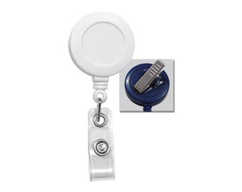 10 White Badge Reels - Free Shipping!! - SWIVEL Pinch Clip ( 360 Alligator) Retractable ID Holders  - Bulk Crafting Supplies (2120-7608-Q10)