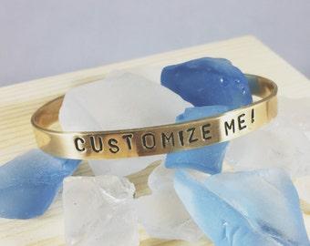 Custom Stamped Brass Bracelet Cuff