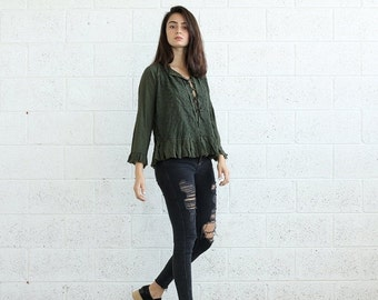 Pre Winter Sale 15% Embroidered Lace Up Shirt, Olive.