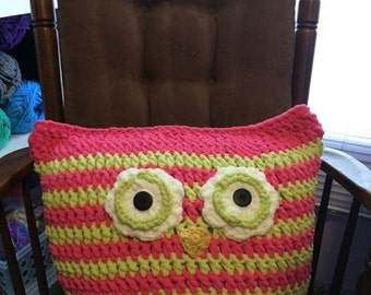 Huge Owl Pillow, Bright Pink & Lime Green