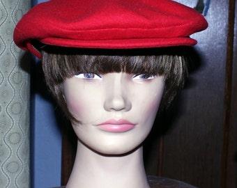 Vintage Red Page Boy Hat, Newsboy Hat, Vintage Golf Hat, Medium Size Vintage Hat