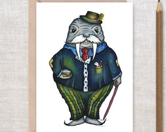 Walrus Greeting Card - Age is a State of Mind Stay Timeless - Happy Birthday, Feel Better, retirement,  over the hill, Greeting Card