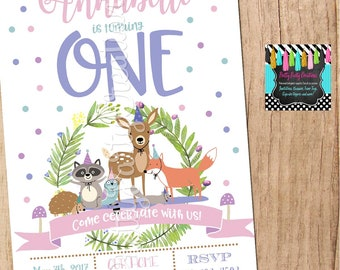 PARTY ANIMALS WOODLAND invitation - baby shower or first birthday You Print