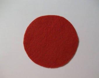 Wool Felt Circle Red 3 inch Round 30 pcs