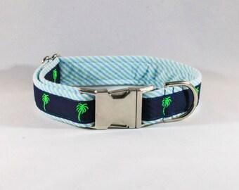 Preppy Seersucker Palmetto Palm Dog Collar