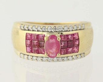 Ruby & Diamond Ring - 14k Yellow Gold Size 5 3/4 Oval Cut 1.37ctw N6411