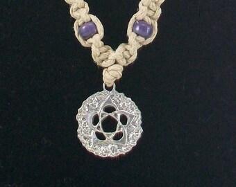 Hemp Necklace with Lotus Flower Pendant