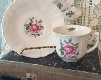 Anyique demitasse teacup saucer fab roses bone china Myotts