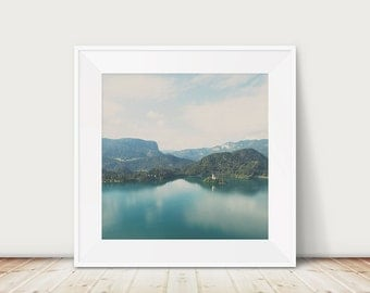 Lake Bled photograph Slovenia photograph Lake Bled print Slovenia print Julian Alps photograph church photograph mountains print