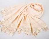 Thin  Luxurios champagne pashmina shawl scarf with french lace border  ,bridesmaid shawl, bridesmaid gift -WITH COLOR OPTION