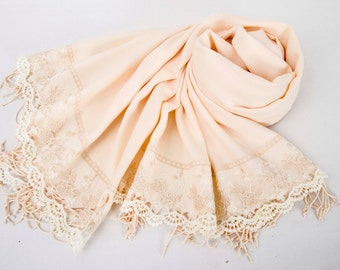Luxurios champagne pashmina shawl scarf with french lace border  ,bridesmaid shawl, bridesmaid gift -WITH COLOR OPTION