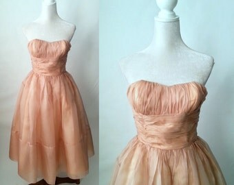 Vintage 1950s Pink Chiffon Strapless Gown, Prom Dress, Wedding Dress, Small