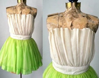 Vintage 1950s White and Green Chiffon Strapless Mini Dress, Small Size