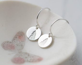 Tiny Tree Earrings Sterling Silver, Hand Stamped Jewelry Gift for Women, Leaf Earrings, Small Silver Dangle Earrings Handmade by Burnish