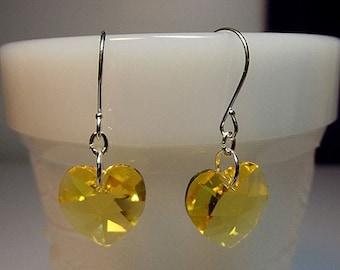30% OFF SALE thru Mon Swarovski Yellow Heart Crystal Drop Earrings, Mom Sister Grandmother Jewelry Gift, Simple, Pretty, Silver