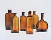 Vintage Amber Bottles: Amber Apothecary Bottles, Instant Collection of 6 Brown Bottles