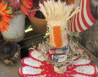 JUNK ART DOLL~ Up Cycled~ Budweiser Beer~ Hipster~ Bow Tie~  Man Cave~ thebagglady76