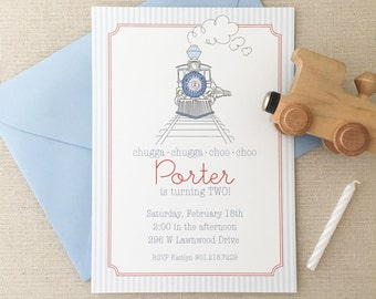 Printed Train Birthday Invitations