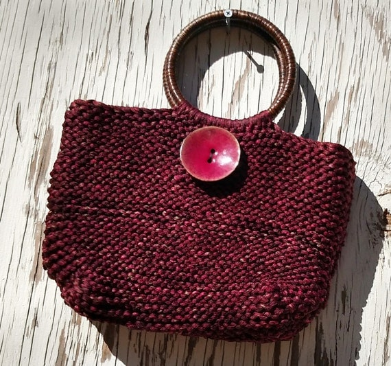 Knit Handbag in Silky Garnet Yarn with Giant Enamel Coconut Button and Rattan Handles