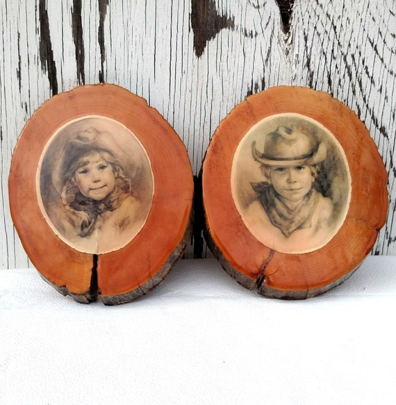 Set of 2 Vintage Cowboy and Cowgirl Illustrations Mounted on Wood Slices