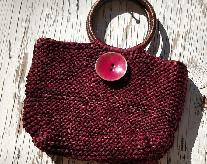 Knit Handbag in Silky Garnet Yarn with Giant Enamel Coconut Button and Rattan Handles