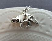 Dinosaur Necklace. Origami Dinosaur  Necklace. Silver Dinosaur Pendant. Whimsical Gift