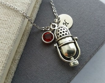 Microphone Necklace. Initial Personalized Necklace. Retro Microphone. Antique Silver Microphone Pendant. Singer Jewelry. Birthstone Necklace