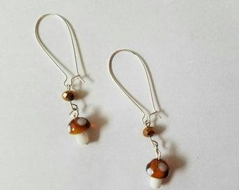 Dainty mushroom dangle earrings, pretty boho chic,handmade  unique jewelry