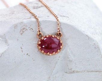 Vintage Rose Gold Ruby Necklace, July Birthstone Necklace for Her Layering Necklace