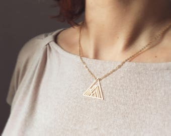 Gold geometric triangle mountain necklace