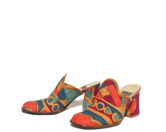 8 M | Bold Print Heeled Loafer Mules by Jazz