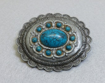 Pewter and Turquoise Western Style Concho Design Belt Buckle