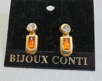 Bijoux Conti 2 Color CZ Stone Convertible Pierced Earrings