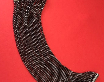 Fabulous Wide Multilayered Silvery Metalic Black Chain Bracelet