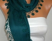 ON SALE --- Emerald Green Scarf Floral Pashmina Scarf  -  Cowl Scarf  with Lace Edge - fatwoman