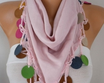 ON SALE --- Dusty Pink Pashmina Scarf,Fall Winter Scarf,Bohemian,Wedding Scarf, - Cowl Scarves with Lace Leather Edge Womens Fashion
