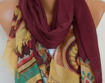 ON SALE --- Burgundy Floral Cotton Scarf,Spring Summer, Shawl, Soft, Cowl, Oversized Wrap Gift Ideas For, Her Women Fashion Accessories Wome