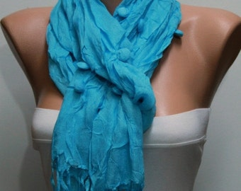 ON SALE --- Turquoise Cotton Scarf, Fall Accessories, Shawl, Cowl Scarf, Gift Ideas for Her,Women Fashion Accessories,women scarves,christma