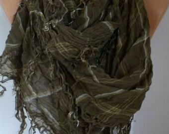 ON SALE --- Sage Green Plaid Soft Cotton Scarf Summer Scarf Oversized Tartan Scarf Shawl Cowl Scarf  Gift Ideas For Her Women Fashion Access