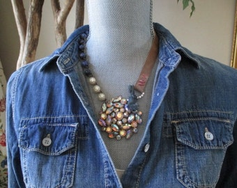 Vintage rhinestone leather necklace - FireBall - fall necklace antique carved mother of pearl button eco chic boho by slashKnots