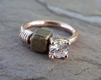 Round Crystal Rose Gold Cartilage Hoop Tragus Hoop Rook Daith Hoop
